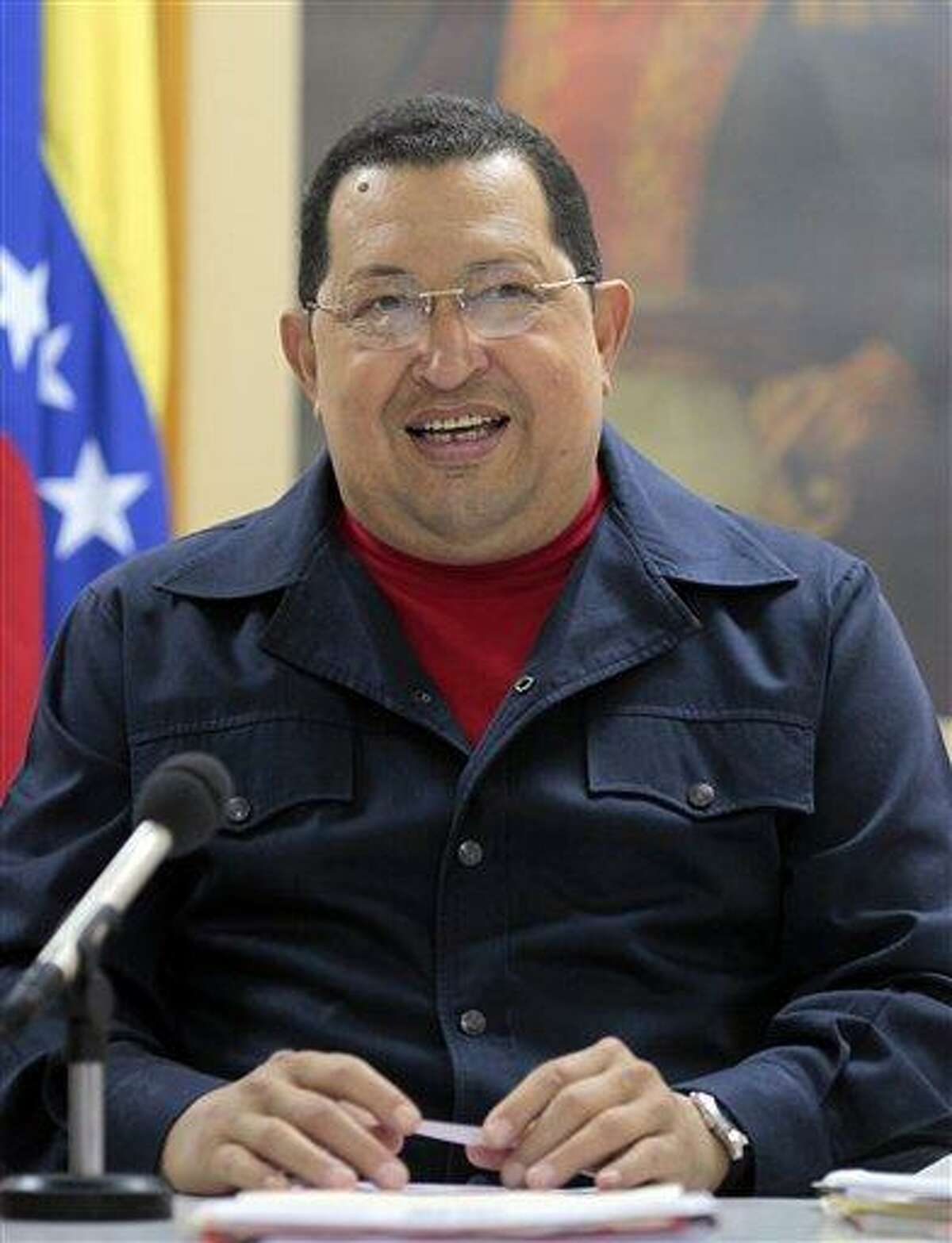 In this photo released by Miraflores Press Office Sunday, Venezuela's President Hugo Chavez speaks during a televised speech at an undisclosed location in Havana, Cuba, Saturday. Chavez appeared Sunday on television for the first time in nine days during which he underwent surgery in Cuba to remove a tumor. Chavez spoke firmly in footage recorded Saturday in Havana. Associated Press