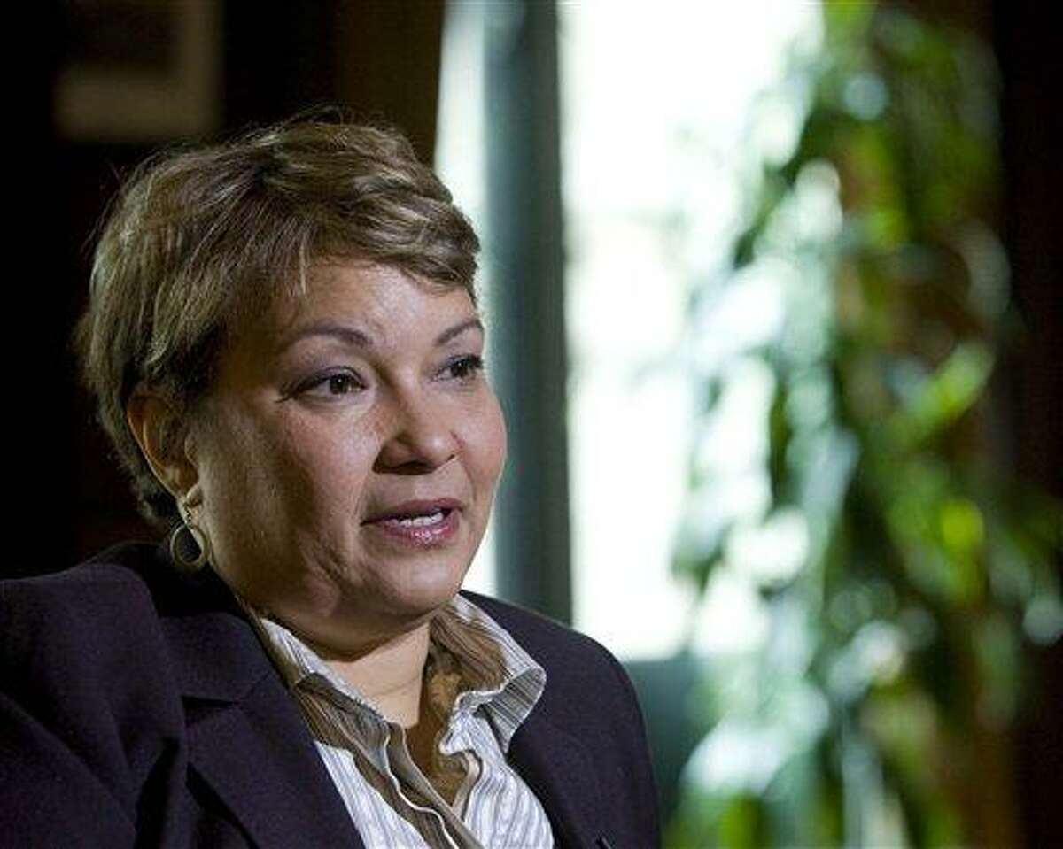 Environmental Protection Agenc Administrator Lisa Jackson during an interview April 17 with The Associated Press at EPA Headquarters in Washington. Jackson announced her resignation Thursday. Associated Press file photo