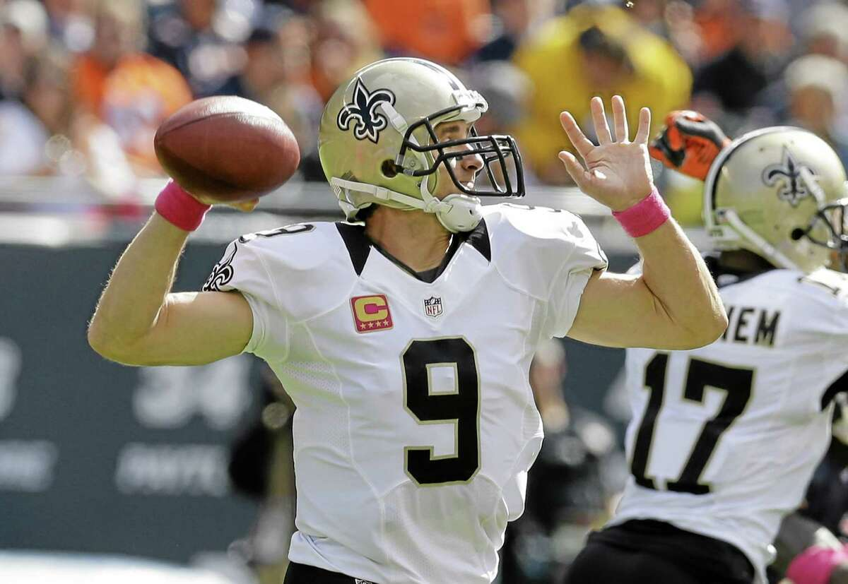 Quarterback Drew Brees will try to keep the Saints unbeaten when they face the Patriots Sunday.