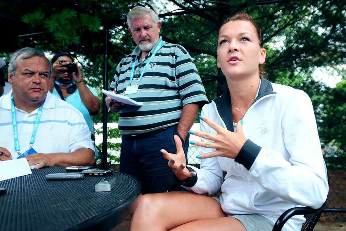 Agnieszka Radwanska answers questions from the media at the New Haven Open at Yale on 8/19/2012.Photo by Arnold Gold/New Haven Register