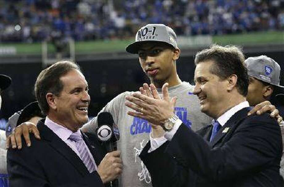 CBS is again the primary carrier of NCAA Tournament games, and Jim Nantz, shown interviewing Kentucky's Anthony Davis and John Calipari after last year's title game, handles play-by-play for the marquee games. Photo: AP / AP