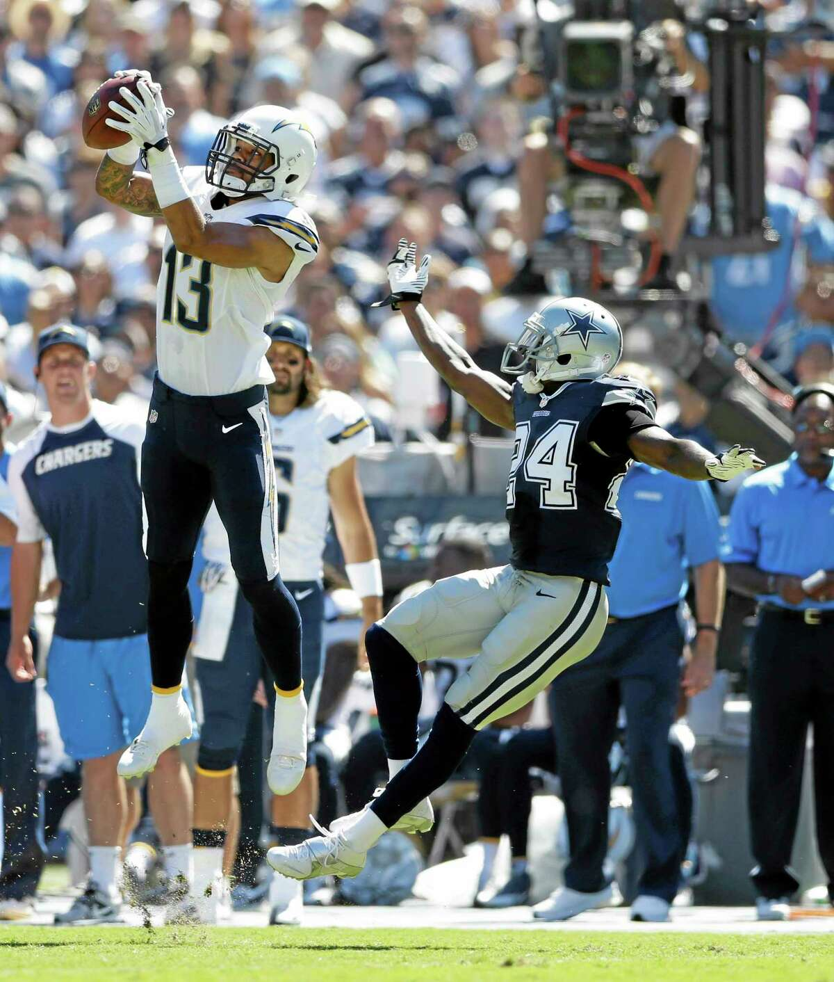 San Diego Chargers wide receiver Keenan Allen catches a pass in front of Dallas Cowboys cornerback Morris Claiborne on Sept. 29 in San Diego.
