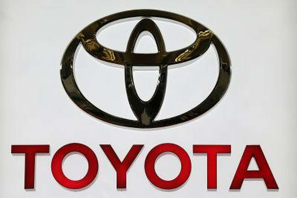 The Toyota logo on a sign at the 2013 Pittsburgh Auto Show in Pittsburgh Feb. 14.