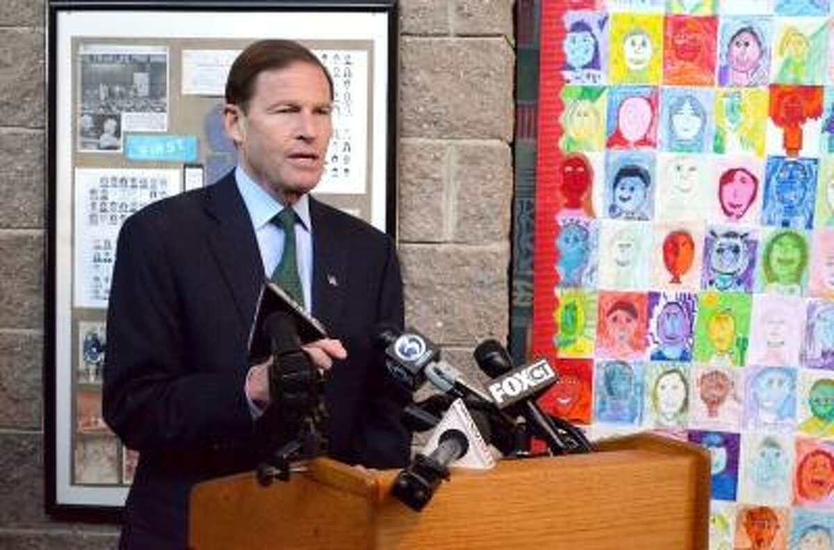 Senator Richard Blumenthal speaks at Wilburt Snow Elementary School in Middletown about attempts to increase school security in Connecticut. John Berry /Middletown Press
