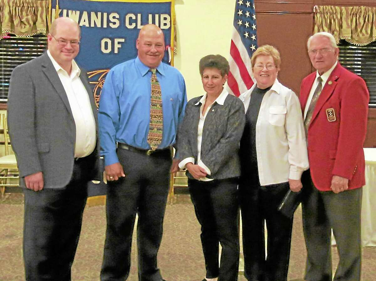 Submitted photoThe Middletown Kiwanis Club recently held its annual installation dinner at Baci Grill in Cromwell. From left, Christopher Conley, immediate past president; Robert Kronenberger, president elect; Lynn Baldoni, president; Maurine Darling, secretary; Dave Darling, treasurer. Jeff DelFavero was elected vice president.