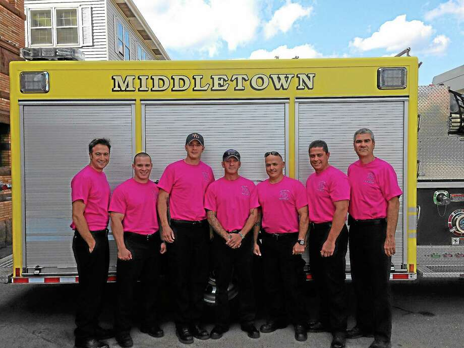 Submitted photoThe Middletown Fire Department and Middletown Firefighters Local 1073 has jumped on board for cancer awareness for the fourth consecutive year. Middletown firefighters have raised more than $5,000 to help fight cancer for the Middlesex Hospital Cancer Center. Photo: Journal Register Co.