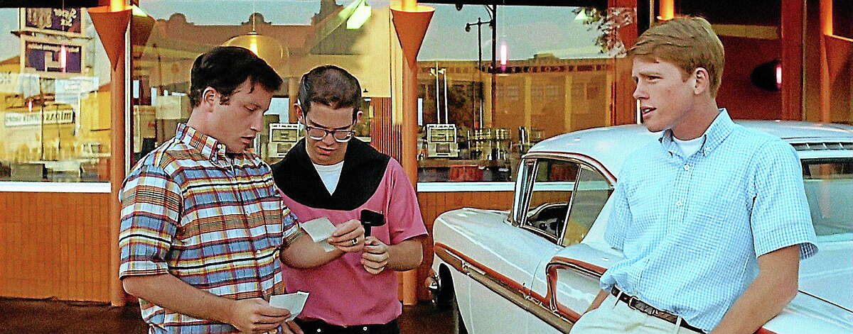 """Richard Dreyfuss, Charles Martin Smith and Ron Howard — with a car! — in """"American Graffiti."""""""