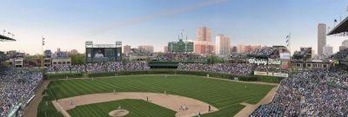 FILE -This file photo shows an artist rendering provided May 1, 2013 by the Chicago Cubs showing planned renovations at Wrigley Field. On Wednesday, July 24, 2013, Chicago City Council aldermen are set to vote on proposed renovations at the historic ballpark. Under the deal, the Chicago Cubs agreed not to erect outfield signs in addition to a Jumbotron in left field and another sign in right.