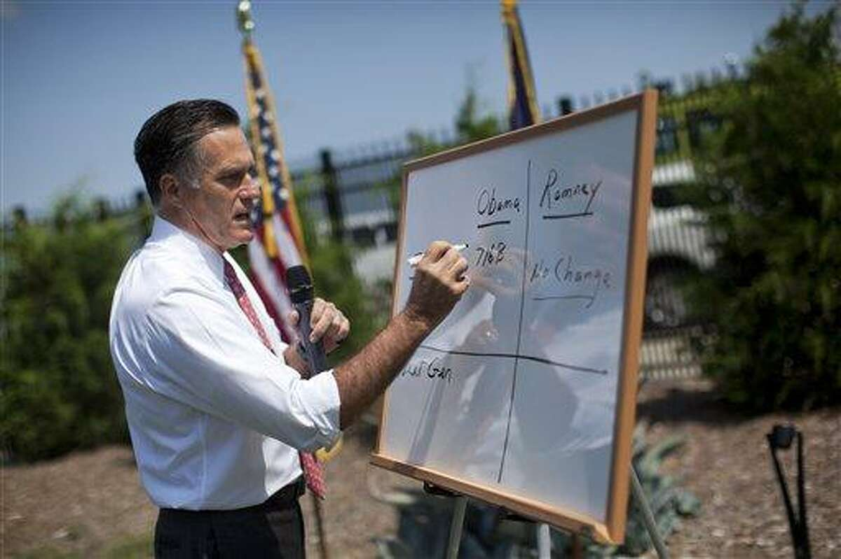 Republican presidential candidate, former Massachusetts Gov. Mitt Romney writes on a white board as he talks about Medicare during a news conference Thursday at Spartanburg International Airport in Greer, S.C. Associated Press