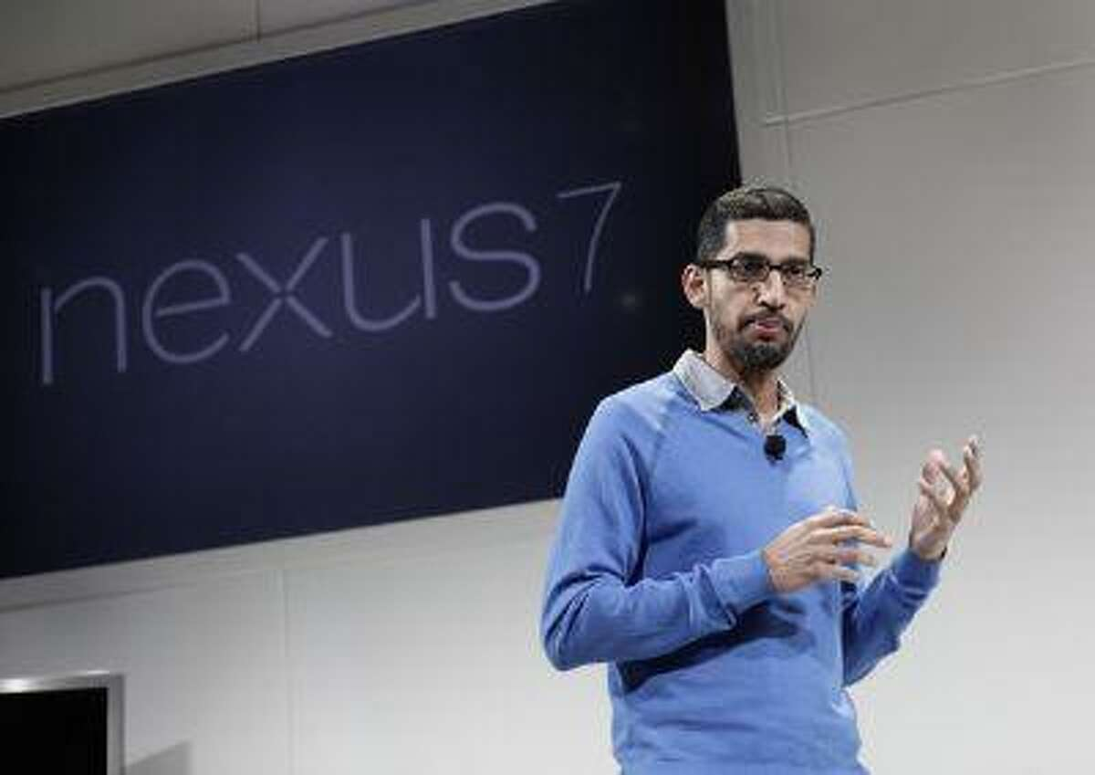 Sundar Pichai, Google senior vice president in charge of Android and Chrome, introduces the Nexus7 tablet at Dogpatch Studios in San Francisco, Calif. on Wednesday, July 24, 2013. (Gary Reyes/Bay Area News Group)