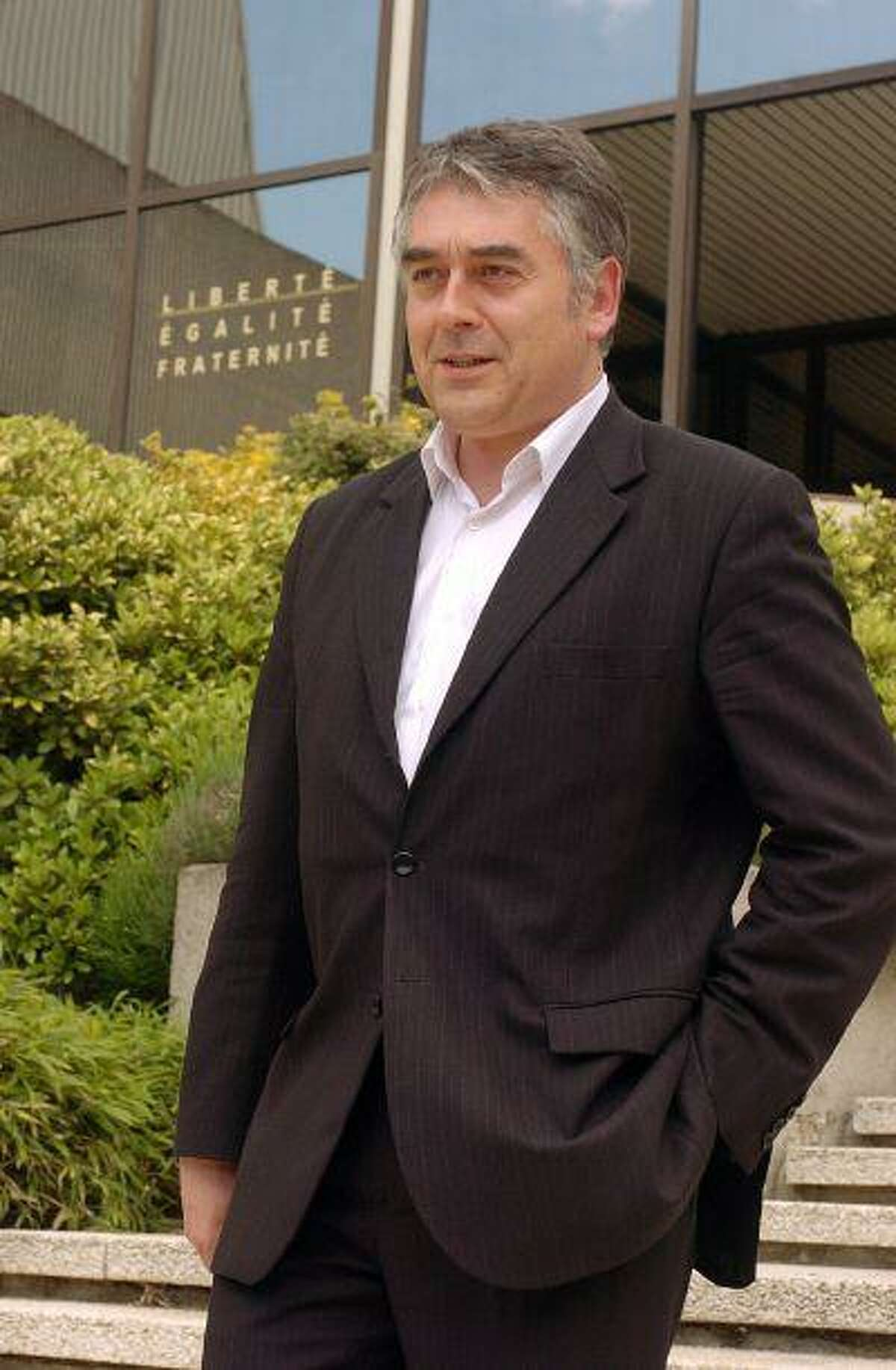 Gilles Bourdouleix, then-deputy mayor of the town of Cholet, France, poses in front of the town hall on May 26, 2006.