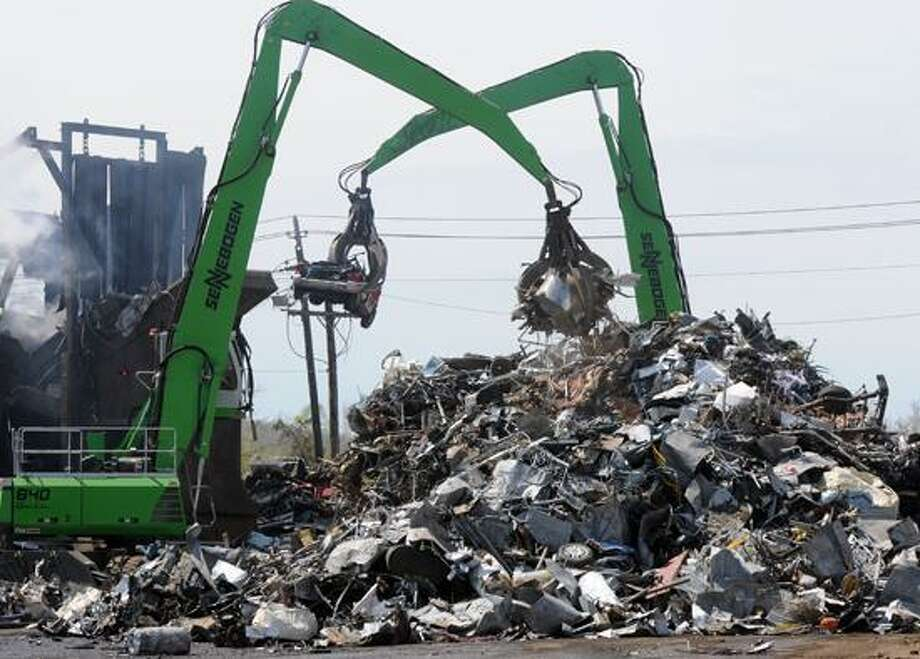 """Sims Metal Management in North Haven """"is not your grandfather's scrapyard."""" The ferrous metal yard. Mara Lavitt/New Haven Register4/18/12"""