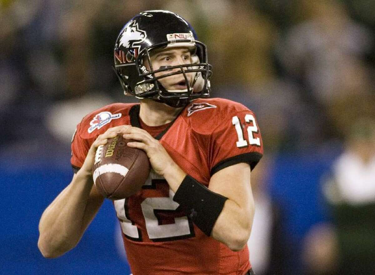 ASSOCIATED PRESS In this Jan. 2, 2010, file photo, Northern Illinois quarterback Chandler Harnish looks to pass against South Florida during the first half of the International Bowl in Toronto. The Indianapolis Colts selected Harnish, the Mid-American Conference offensive player of the year, with the final pick in this weekend's draft, No. 253 overall.