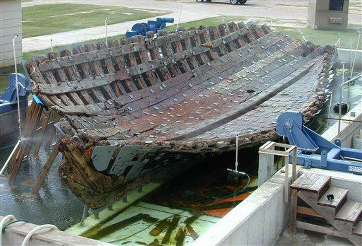 This 2001 photo provided by Texas A&M University shows the hull of the 17th-century French ship La Belle at the Texas A&M University Center for Maritime Archaeology and Conservation in Bryan, Texas. Researchers plan to rebuild the vessel, which will become the centerpiece of the Bob Bullock Texas State History Museum in Austin. The supply ship was built in 1684 and sank two years later in a storm on Matagorda Bay, about midway between Galveston and Corpus Christi, Texas. Associated Press