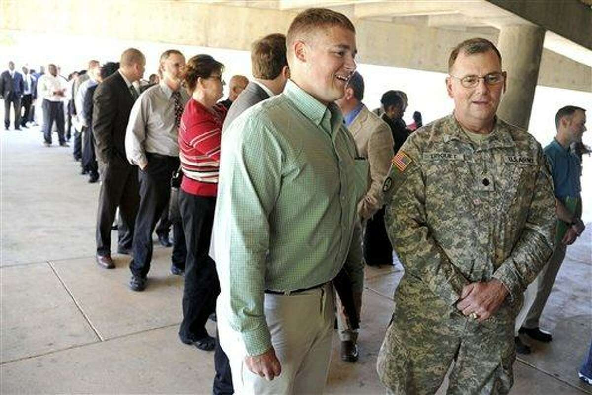 """The U.S. Chamber of Commerce and other local groups host a """"Hiring Our Heroes"""" veterans job fair at Birmingham Crossplex in Alabama, which drew over 300 people. Connecticut is working on similar initiatives to hire veterans. Associated Press"""