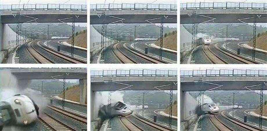 This combo image taken from security camera video shows clockwise from top left a train derailing in Santiago de Compostela, Spain, on Wednesday July 24, 2013. Spanish investigators tried to determine Thursday why a passenger train jumped the tracks and sent eight cars crashing into each other just before arriving in this northwestern shrine city on the eve of a major Christian religious festival, killing at least 77 people and injuring more than 140. (AP Photo) Photo: AP / security camera
