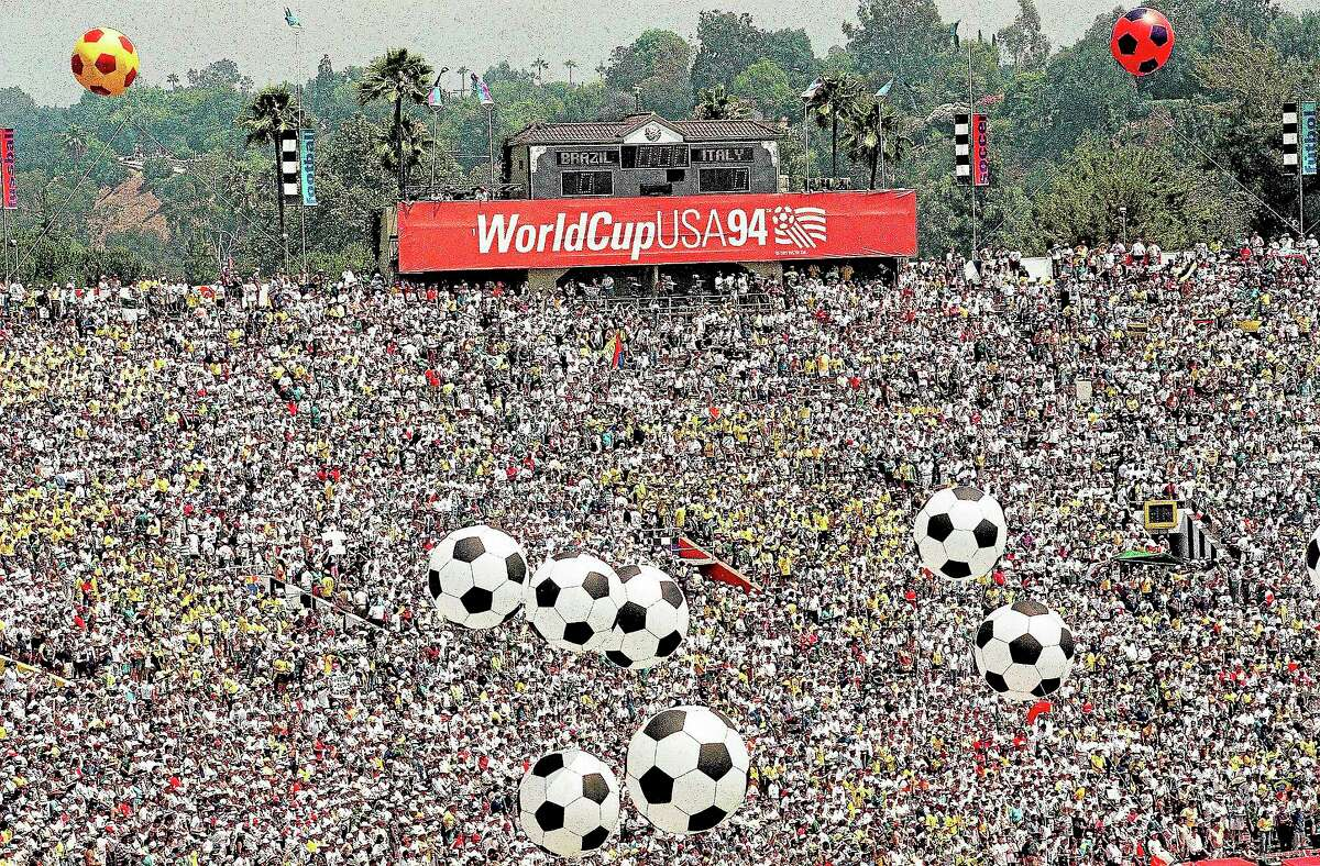 Soccer fans pack the Rose Bowl prior to the World Cup final match between Brazil and Italy on July 17, 1994, in Pasadena, Calif.
