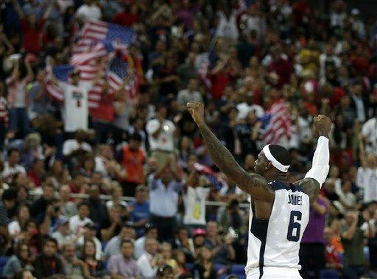 United States' LeBron James reacts during the men's gold medal basketball game against Spain Sunday at the 2012 Summer Olympics in London. Associated Press