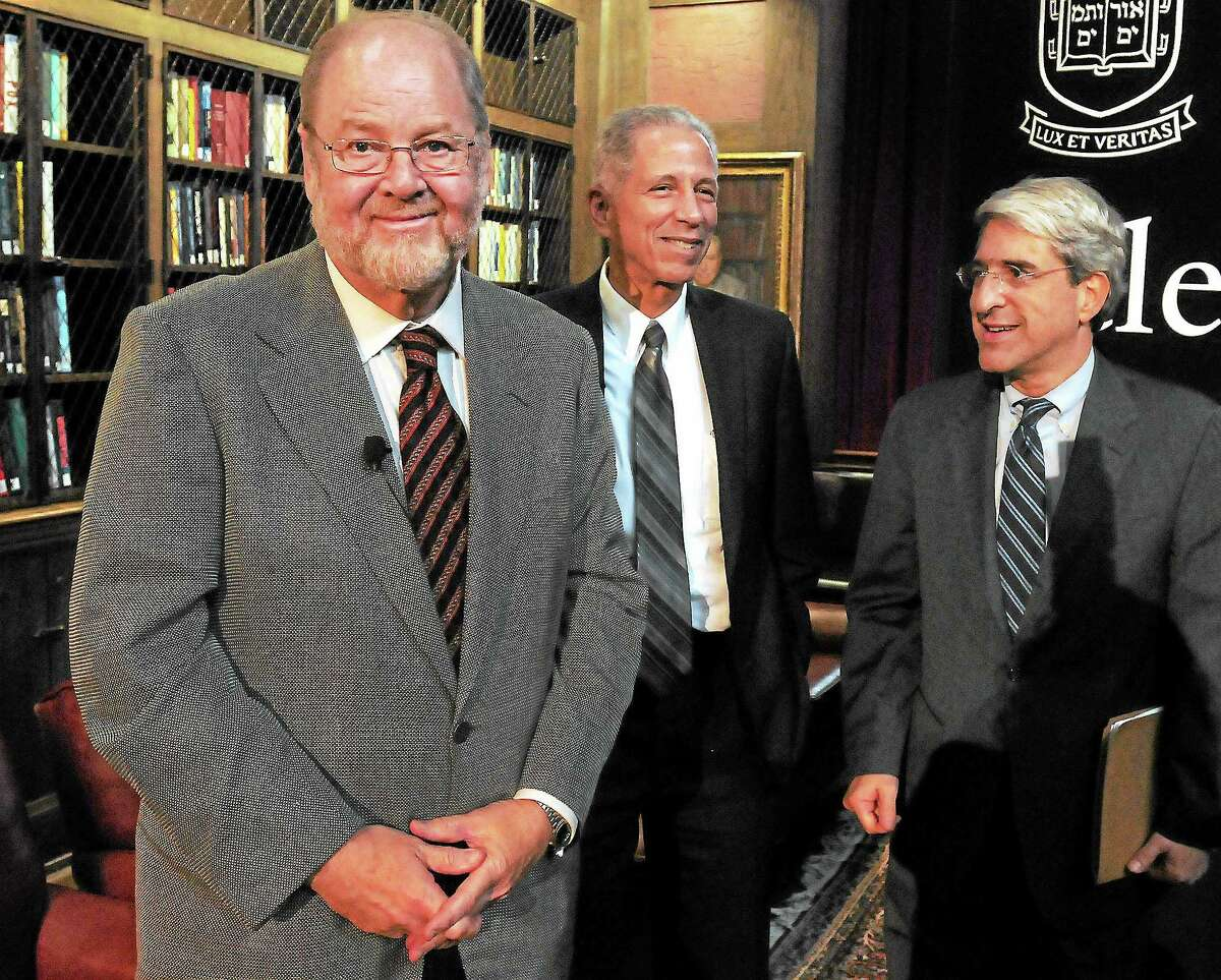 (Mara Lavitt — New Haven Register) October 7, 2013 New HavenJames E. Rothman, left, the chair of Yale's Dept. of Cell Biology shares the 2013 Nobel Prize in Physiology or Medicine. With him are Yale Medical School Dean Robert Alpern and Yale President Peter Salovey, afte a press conference at the Yale Medical School.