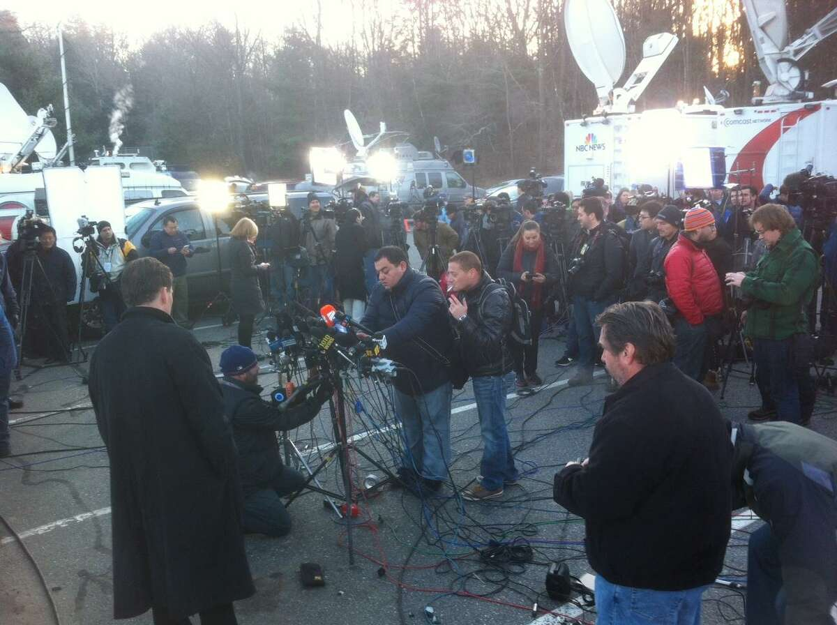The media set up for the initial announcement of the Newtown shootings tragedy.