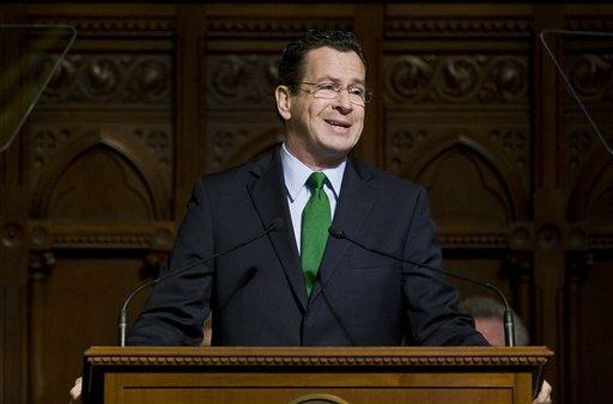 Gov. Dannel P. Malloy delivers the State of State address at the State Capitol in Hartford, Conn., Wednesday, Feb. 8, 2012. (AP Photo/Jessica Hill)