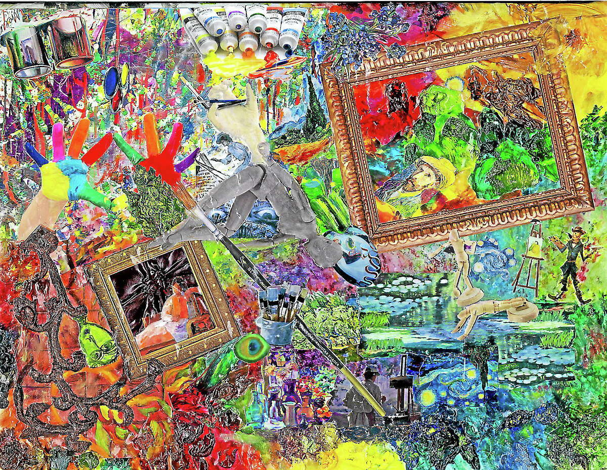"""Artwork provided by Paula EmeryMixed Media Collage """"Impressions"""" is part of the upcoming """"Spectrum: A Celebration of Paintings, Sculpture and Poetry"""" at the Essex Art Association."""