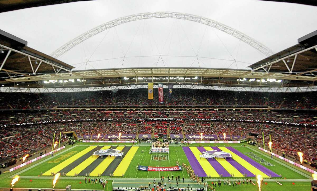 Team flags are displayed on the field ahead of the game between the Pittsburgh Steelers and Minnesota Vikings at Wembley Stadium in London on Sept. 29.