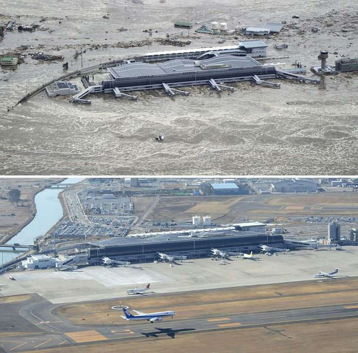 This combination photo taken March 11, 2011, top, and Monday, March 4, 2013 shows an aerial view of Sendai Airport in Natori, Miyagi prefecture. The airport resumed operation only about one month after the tsunami and functioned as the major base of the rescue operation. March 11, 2013 is the 2-year anniversary of the earthquake and tsunami which devastated the northeastern Pacific coast of Japan. (AP Photo/Kyodo News)