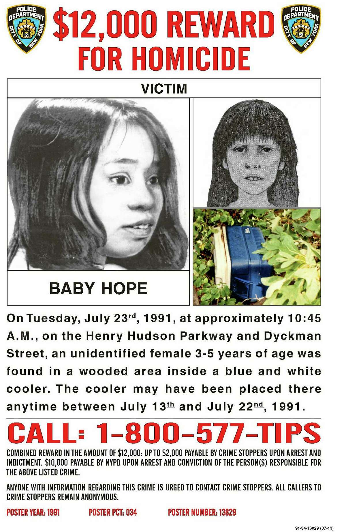 """This undated image of a poster provided by the New York City Police Department seeks help identifying the victim dubbed """"Baby Hope."""" On July 23, 2013, the 22nd anniversary of the discovery of the body of a young girl inside a cooler in Washington Heights, police offered a $12,000 reward for any information leading to an arrest and conviction in the unsolved crime. Officers put up posters in the neighborhood and handed out fliers with sketches of how the victim might have looked. (AP Photo/NYPD)"""
