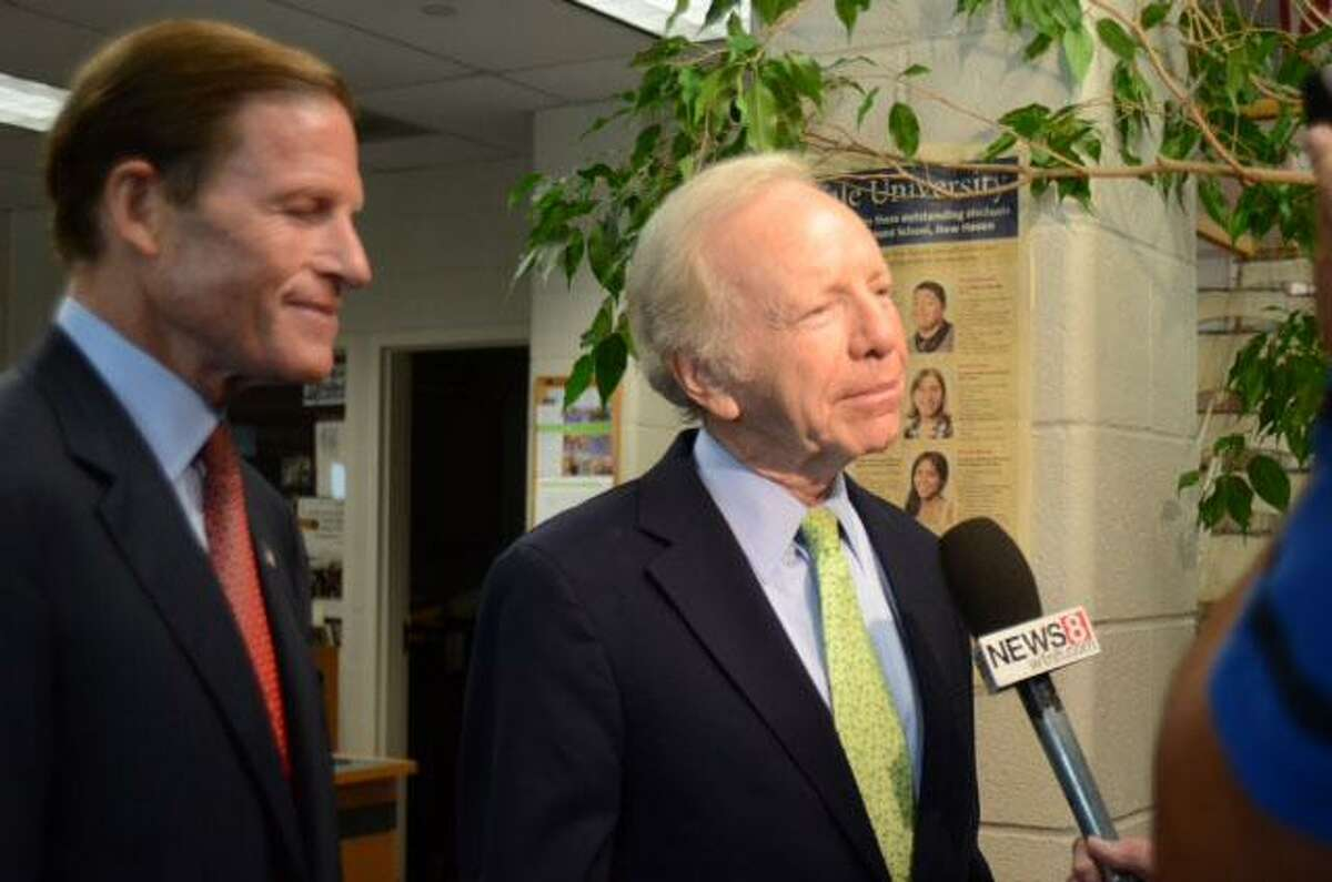 Connecticut's U.S. Sens. Richard Blumenthal and Joseph I. Lieberman arrive at the Sound School and make a statement before the roundtable to discuss ways to preserve the Sound. V.M. Williams/Register