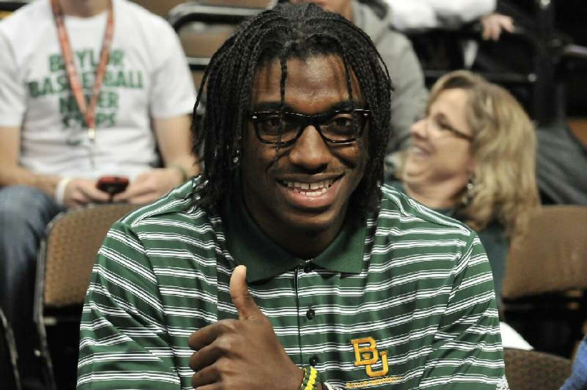 ASSOCIATED PRESS Robert Griffin III gives the thumbs up for his Baylor Bears before the championship game of the 2012 NCAA Women's Basketball Tournament against Notre Dame at the Pepsi Center in Denver, Co., on April 3.