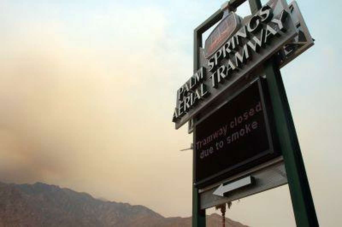 The Palm Springs Aerial Tramway is closed due to smoke from the Mountain Fire on Thursday, July 18, 2013.