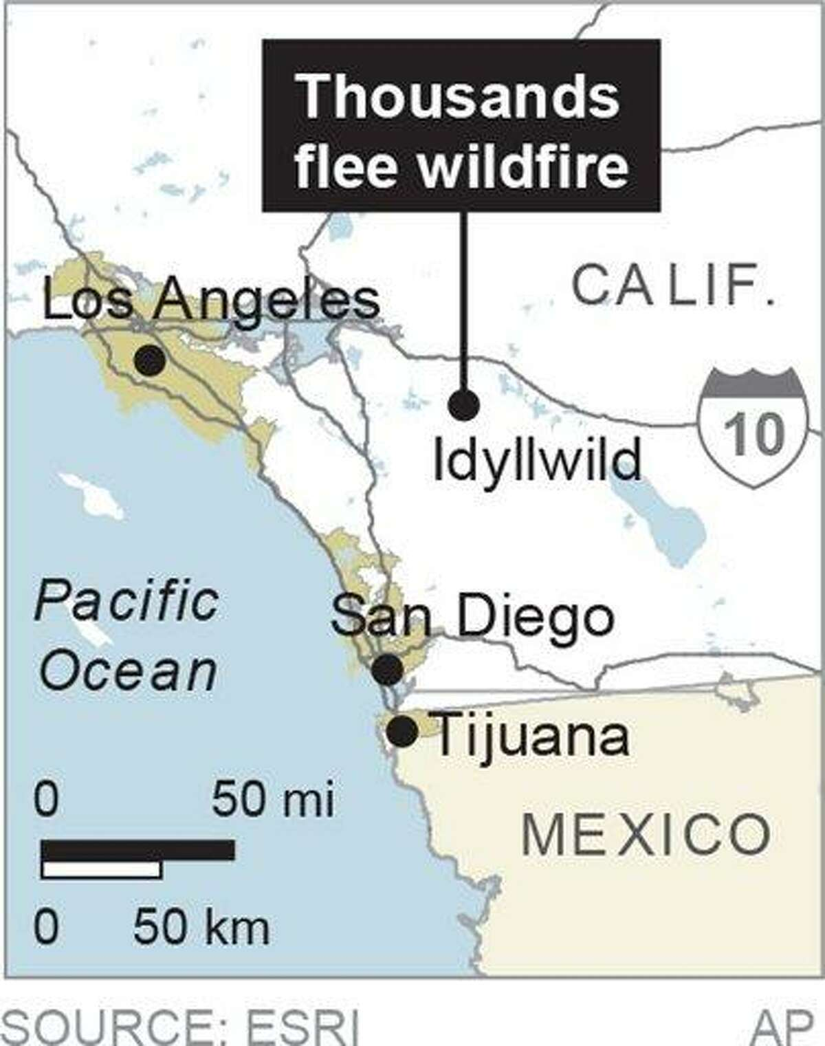Map locates Idyllwild, Calif., where 6,000 people were forced to flee wildfires.