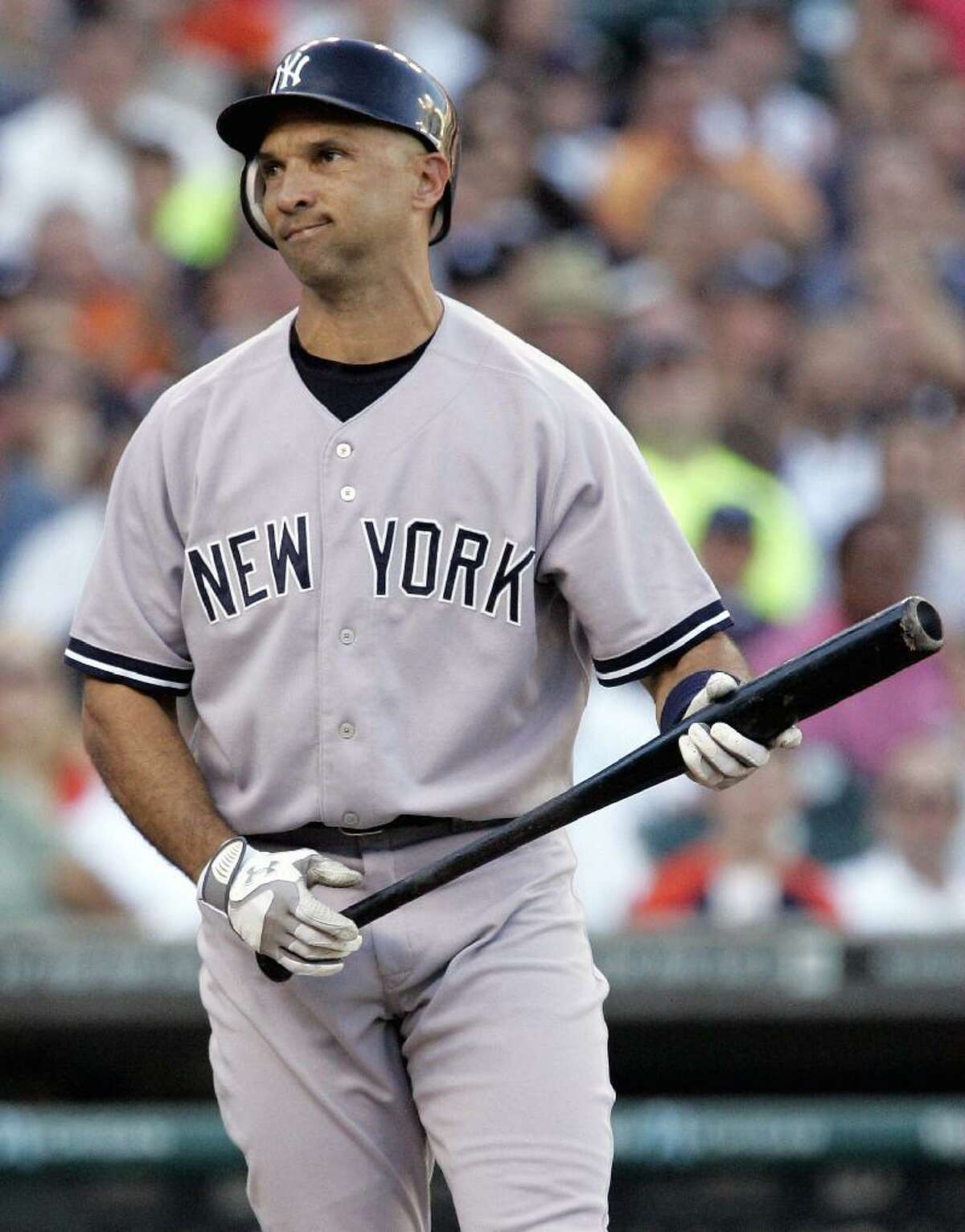ASSOCIATED PRESS New York Yankee batter Raul Ibanez reacts after being called out on strikes in the second inning of Monday's game against the Detroit Tigers in Detroit. The Yankees lost 7-2.