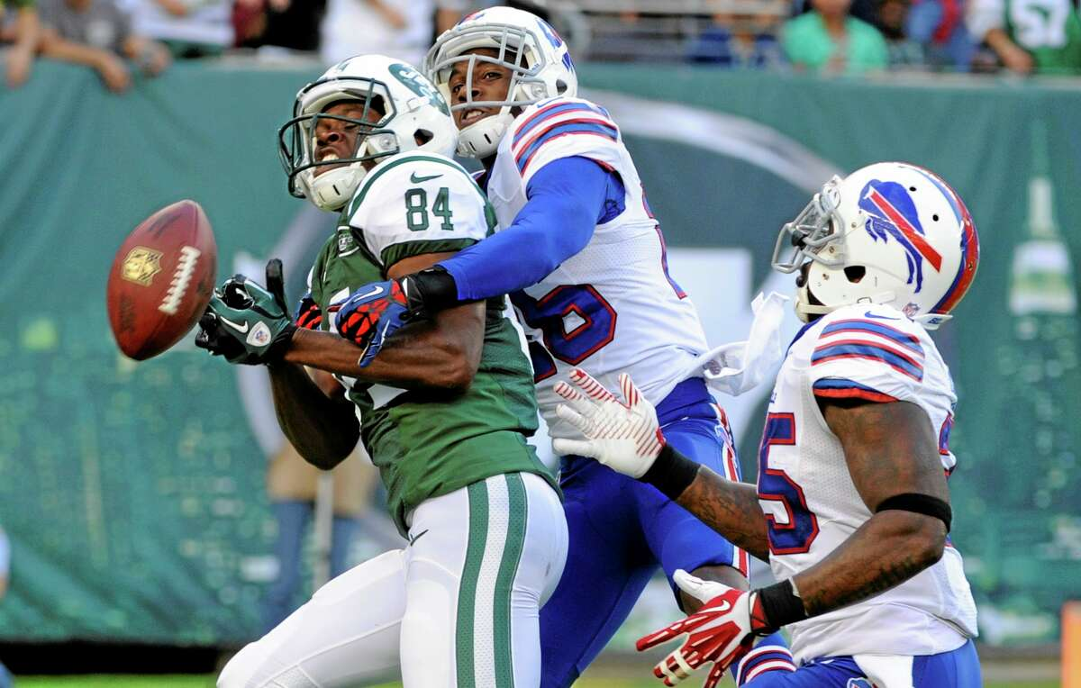 Buffalo Bills defensive back Justin Rogers breaks up a pass to the Jets' Stephen Hill (84) during the first half on Sept. 22 in East Rutherford, N.J.