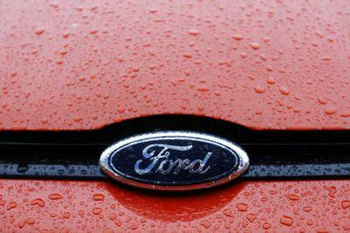 The Ford logo is seen on a vehicle at a Ford car plant.