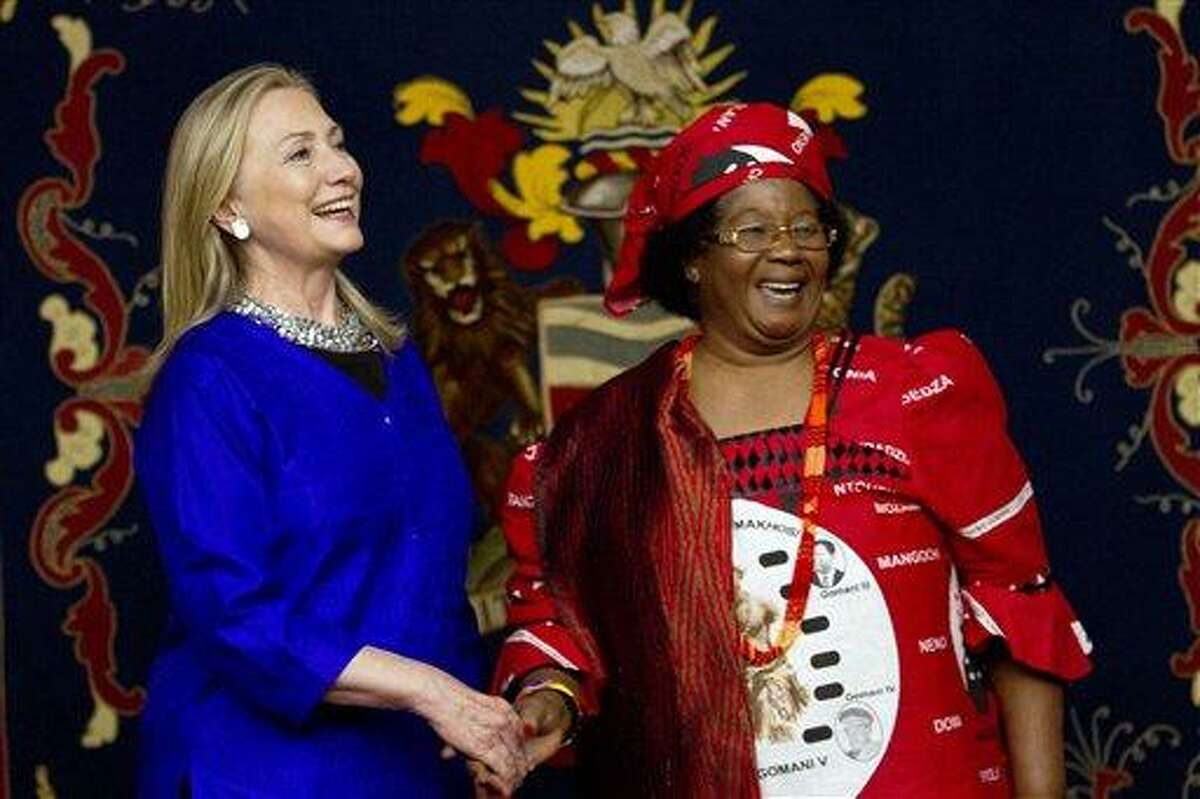 U.S. Secretary of State Hillary Rodham Clinton, left, meets with Malawi's President Joyce Banda Sunday at the State House in Lilongwe, Malawi. This is the first visit to Malawi by any U.S. Secretary of State. Associated Press