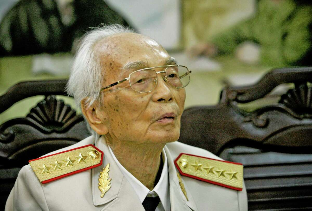 FILE -Vietnamese General Vo Nguyen Giap at his home in Hanoi, Vietnam in this picture made Aug. 25 2008, his 97th birthday. Officials say Giap, the military mastermind who drove the French and the Americans out of Vietnam, has died at age 102. He was the country's last famous communist revolutionary, and used ingenious guerrilla tactics to overcome enormous odds against superior forces. (AP Photo/Na Son Nguyen, file)