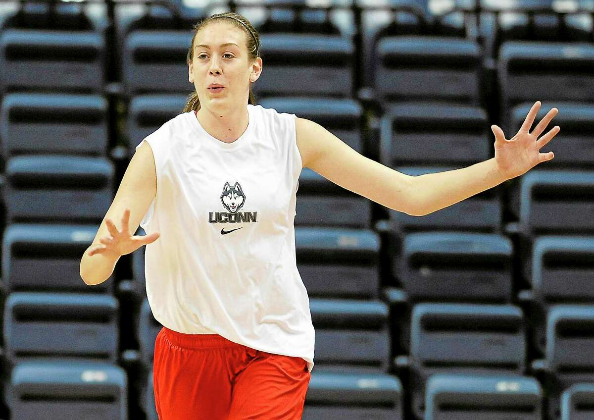 UConn's Breanna Stewart practices after the team's media day on Monday in Storrs.
