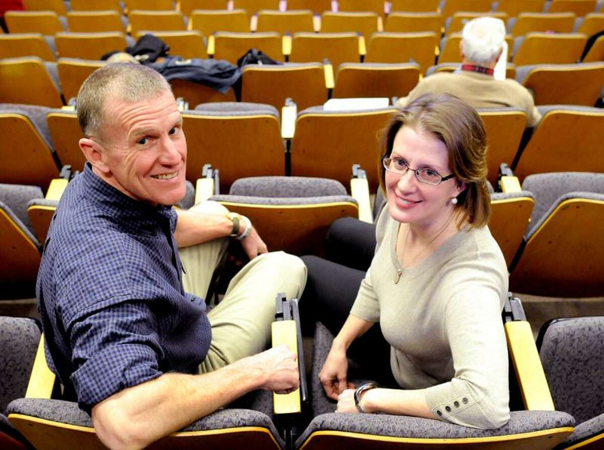 """Retired Army General Stan McChrystal and Research Scientist Kristina Talbert-Slagle before their joint lecture """"The Health of Nations"""" on the similarities in fighting a medical virus and fighting a military insurgency during at Yale University's Luce Hall in New Haven, Connecticut Tuesday March 5, 2013 Photo by Peter Hvizdak / New Haven Register"""