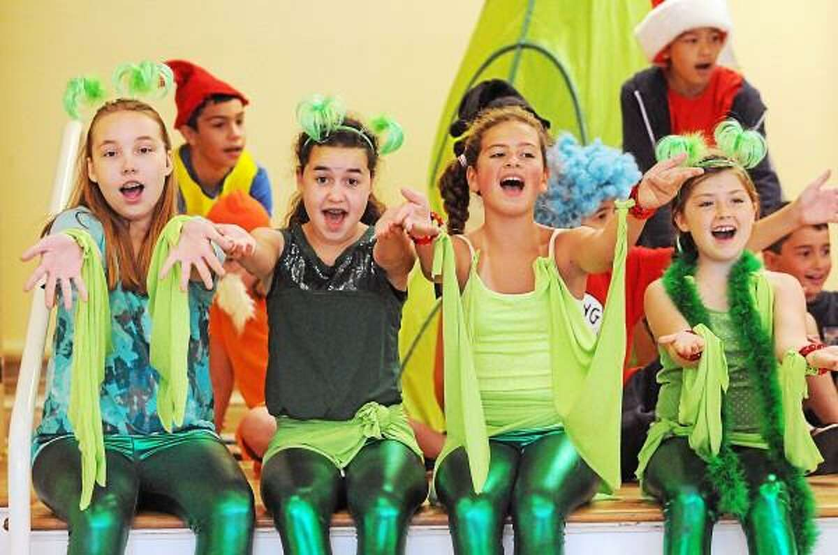 Catherine Avalone - The Middletown Press Emma Axelrod, Tati Perez, Eva Sacco and Shannon Moore are the Bird Girls in dress rehearsal Friday afternoon for