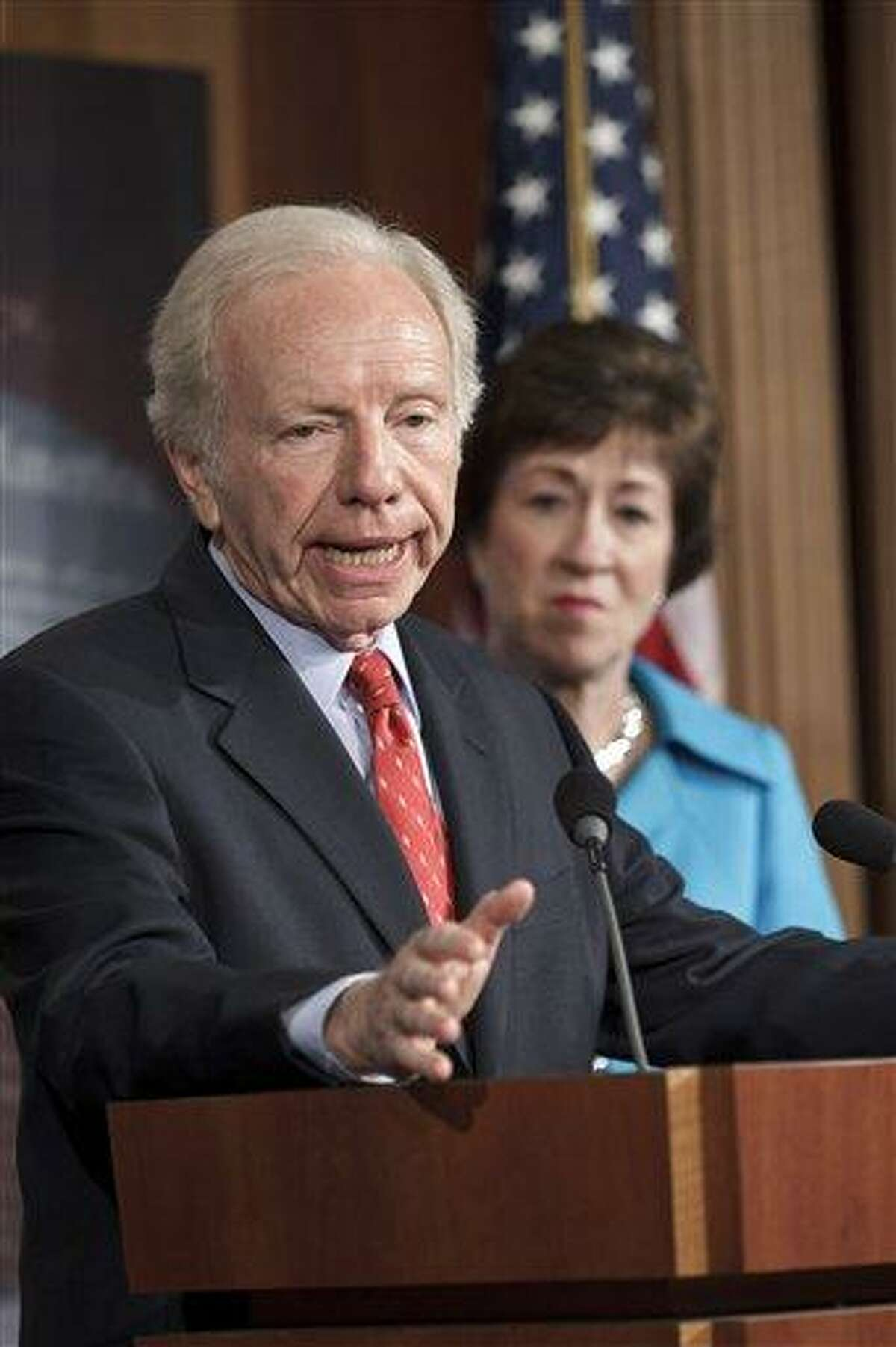Senate Homeland Security and Governmental Affairs Committee Chairman Sen. Joseph Lieberman, I-Conn., accompanied by the committee's ranking member Sen. Susan Collins, R-Maine, announces during a press conference July 24 that the Senate will take up legislation to protect critical U.S. industries and other corporate networks from cyberattacks and electronic espionage. Associated Press
