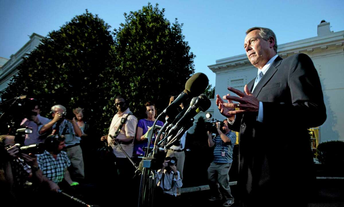 House Speaker John Boehner, R-Ohio, speaks to reporters following a meeting with President Barack Obama at the White House in Washington, Wednesday, Oct. 2, 2013. Obama and congressional leaders met at the White House on the second day of a partial government shutdown. Boehner says it was a nice conversation but suggested little progress was made. (AP Photo/Manuel Balce Ceneta)