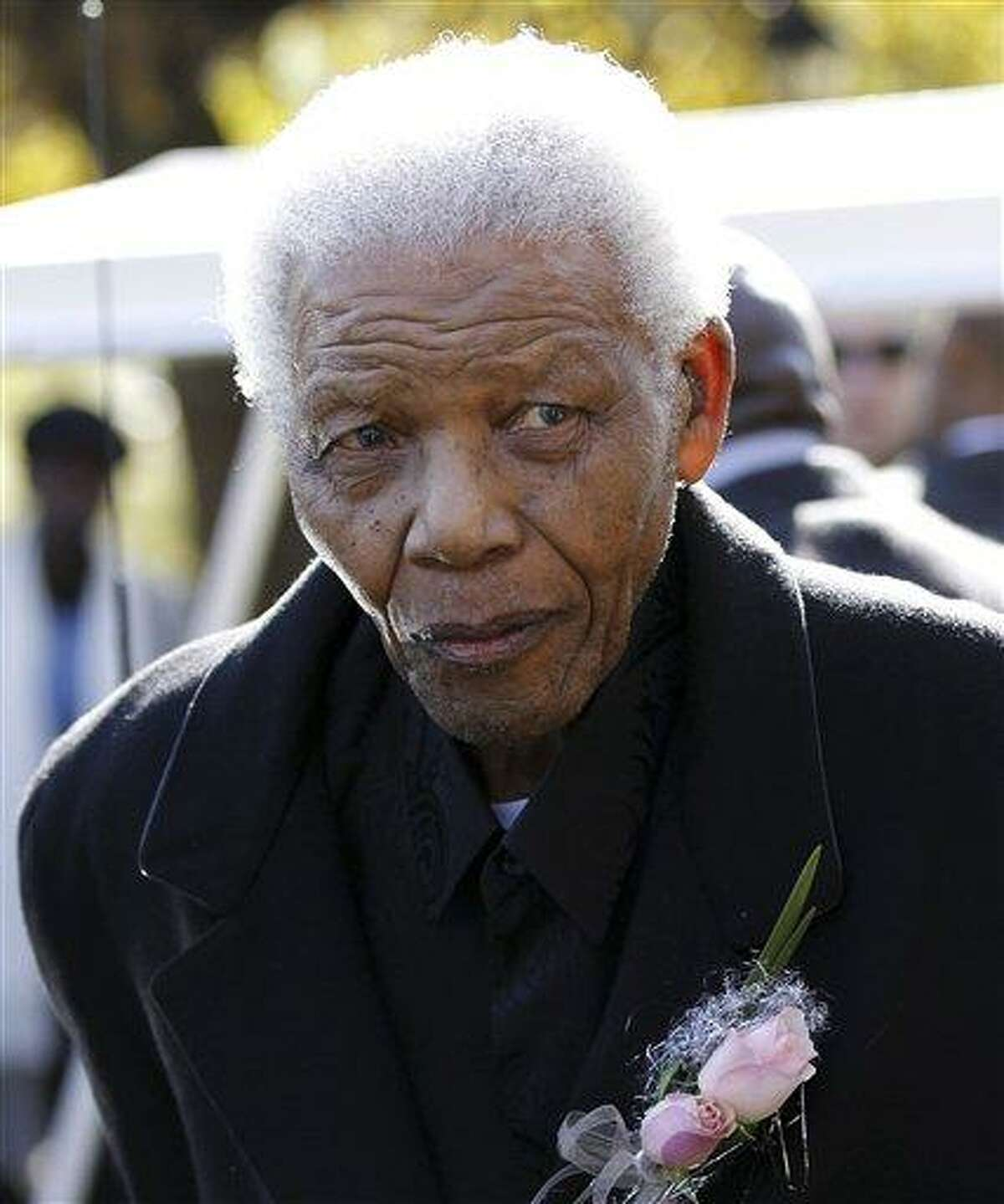 FILE -In this June 17, 2010 file photo, former South African President, Nelson Mandela leaves the chapel after attending the funeral of his great-granddaughter Zenani Mandela in Johannesburg, South Africa. South African President Jacob Zuma says that former President Nelson Mandela has been admitted to hospital in Pretoria to undergo tests. Zuma issued a statement Saturday, Dec. 8, 2012 saying that Mandela is