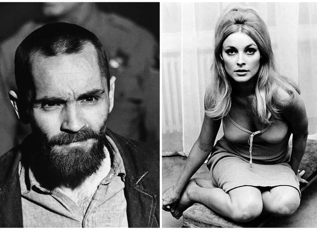 Charles Manson, left, up for parole from prison for his role in the 1969 murders of actress Sharon Tate, right, and five others. Associated Press
