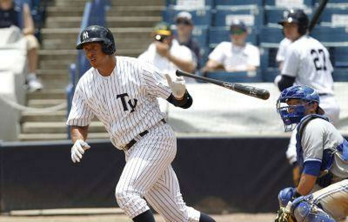 New York Yankees' Alex Rodriquez drops the bat as he heads for first with a single in the sixth inning for the Tampa Yankees against the Dunedin Blue Jays in a minor league baseball rehab game in Tampa, Fla., Wednesday, July 10, 2013.