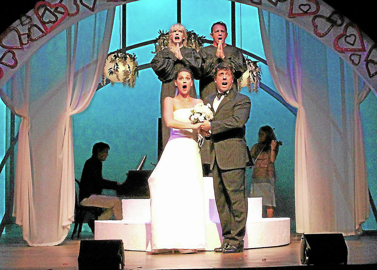 """Submitted photos - Anne HudsonSheila Coyle, Michael Brian Dunne, Christopher Sutton and Holly Holcomb in a scene from """"I Love you, you're perfect, now change."""""""