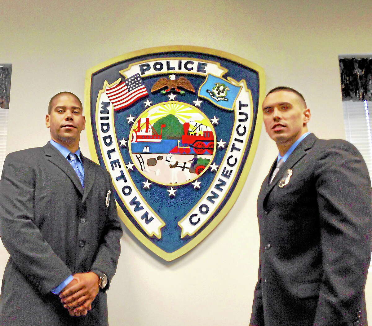 Larry Woolard and Matthew Bloom were sworn in as entry-level officers at the Middletown Police Department Wednesday.