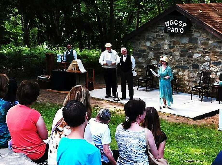 EHSCO photo: Actors in the Sherlock Homes radio dramas at Gillette Castle.