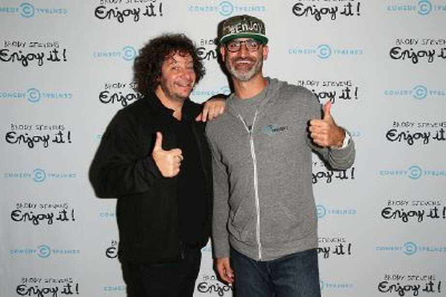 Comedians Jeff Ross and Brody Stevens arrive at the 'Brody Stevens: Enjoy It!' Premiere Party at Smogshoppe on November 21, 2013 in Los Angeles, California.